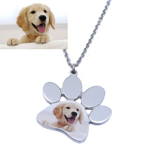 Personalized Dog Photo Necklace,Custom Pet Photo Necklace,Engraved Photo Dog Paw Pendant Charm Gift for Dog Owner Memorial Gift