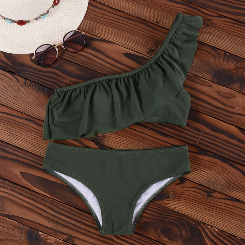 INGAGA Bikini 2019 One Shoulder Swimsuit Ruffle Swimwear Women Solid Women's Swimming Suit maillot de bain femme Sexy Biquini 5