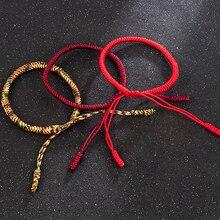 Nova chegada jóias moda bonito sorte artesanal budista nós corda pulseira tibetano infinito charme corrente pulseira