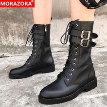 MORAZORA 2020 new arrival ankle boots women genuine leather shoes buckle punk cool autumn winter Motorcycle Boots female(China)
