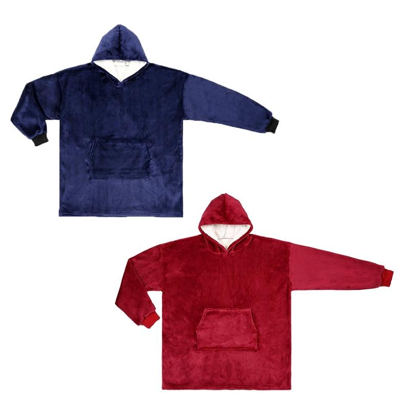Warm Blanket Hooded Sweatshirt Hoodie Coats Soft Warm Bathrobe Sweater Woolen Pullover Adult TV Blankets Heating For Winter