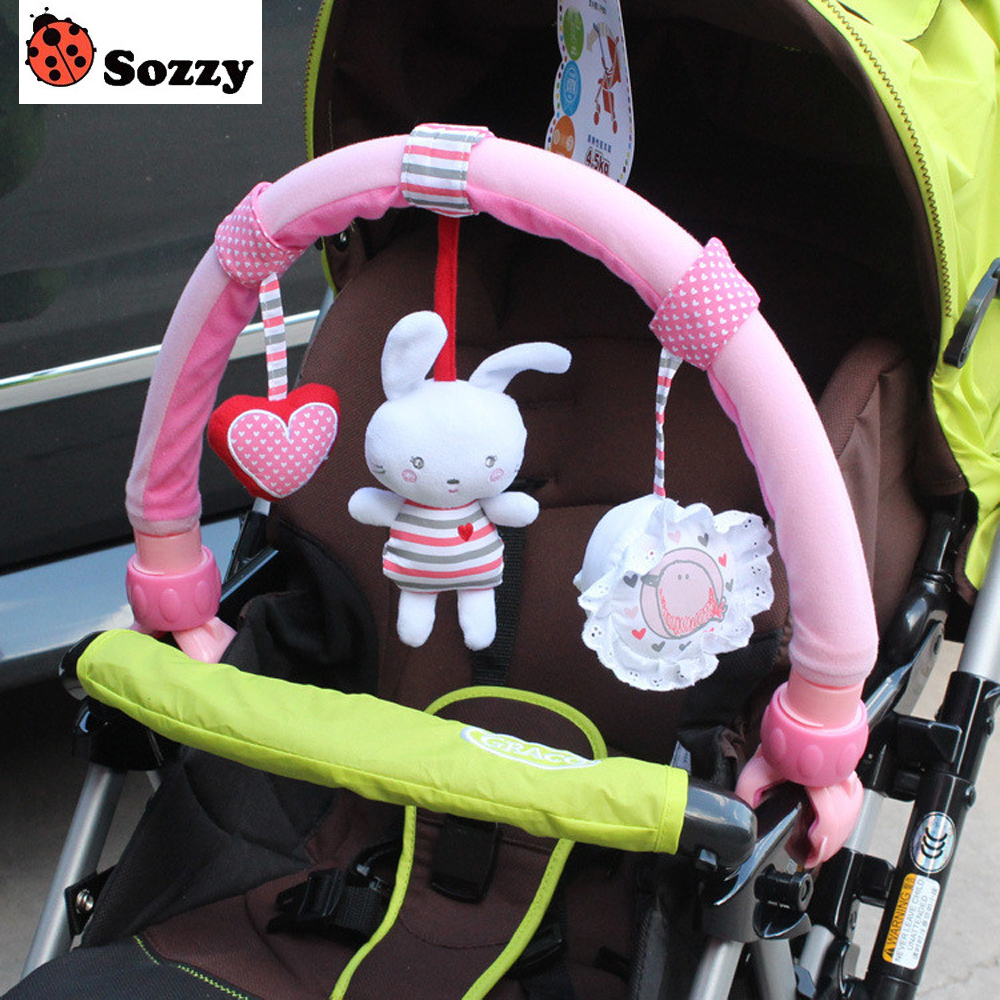 1pcs Sozzy Baby Hanging Pink Rabbit Red Heart Bunny Elephant Music Toy Baby Bed & Stroller Toy Baby Rattle