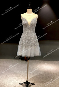 Image 3 - Rhine real Pictures Sexy grey blue luxurious V neck and v back Knee Length Party Dresses Prom dresses 2020