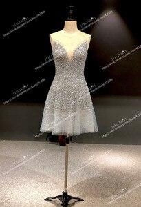 Image 3 - Rijn Real Pictures Sexy Grijs Blauw Luxe V hals En V Terug Knie Lengte Party Jurken Prom Dresses 2020