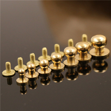 цены 10pcs Solid brass  sam brown browne button screw back Round head ball post studs nail rivets leather craft accessory