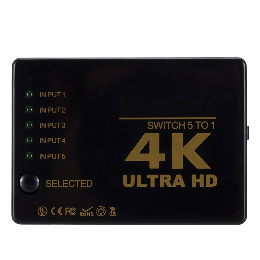 Remote Control Video Selector HD 5 To 1 Switch Box Video Signal Switcher 4K Resolution Supported