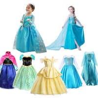 Vestidos de princesa para niñas, traje de Bella, Elsa, Anna, Blancanieves, disfraz de Halloween, fiesta de cumpleaños, ropa de fantasía