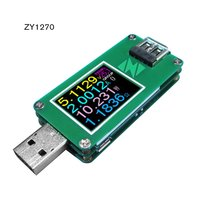 ZY1270 USB Tester Current Voltage Coulometric Capacity Meter Voltmeter Ammeter Green table USB2.0 Communication