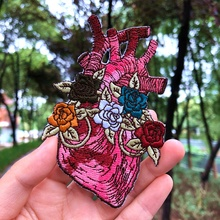 Prajna Flower Heart Iron On Patches Red Embroidered For Clothing Badges DIY Clothes T-shirt Applique