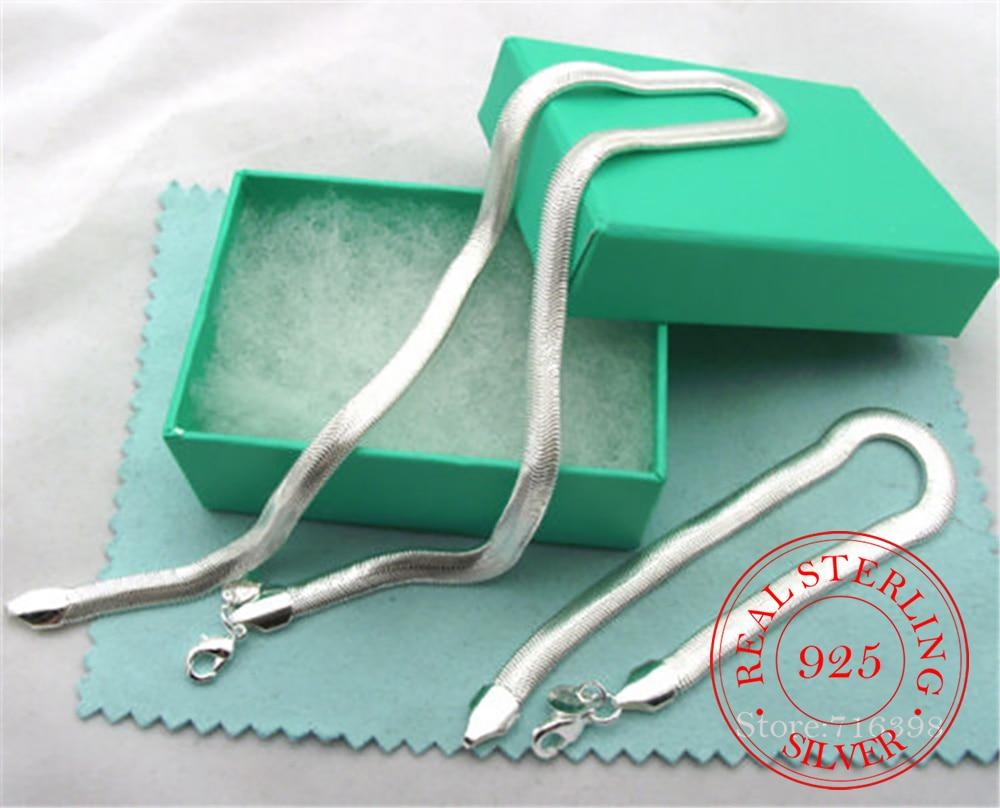 Wholesale 925 Sterling Silver Jewelry Set 6MM Flat Soft Snake Bone Chain Necklace Bracelet For Women Men Two-pieces Set Bijoux