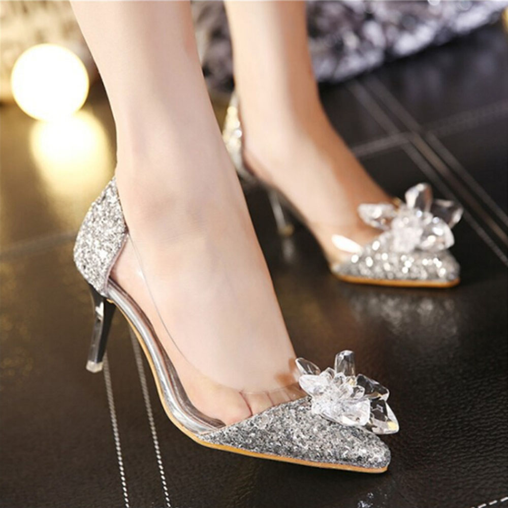 2020 Pumps Women Drill Rhinestone High Heels Bridal Crystal Prom Party Wedding Shoes Pointed Toe Sequins Glitter Bling Shoes