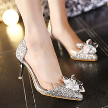 2020 Pumps Women Drill Rhinestone High Heels Bridal Crystal Prom Party Wedding Shoes Pointed Toe Sequins Glitter Bling Shoes aidocrystal sparkling white ab color crystal bridal wedding shoes ivory evening shoes festival party prom high heels