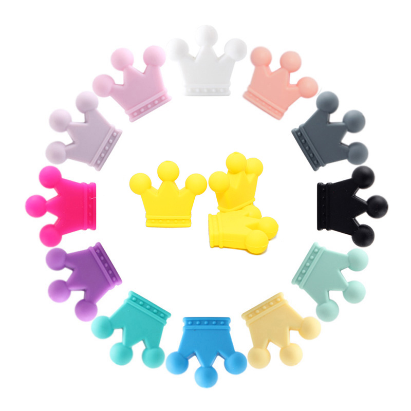Mabochewing 10pcs Cartoon Crown Silicone Teething Beads Baby Teethers Pacifier Chain Necklace Bracelet Making