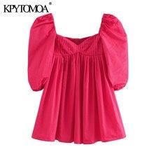 KPYTOMOA женское 2020 шикарное модное Плиссированное мини-платье винтажные женские платья с квадратным воротником и пышными рукавами Vestidos Mujer