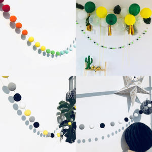 Hair Ball Wall Hanging Ball Pendant 2.5m Long Birthday String Chain Wedding Party Banner DIY Children Room Home Decor