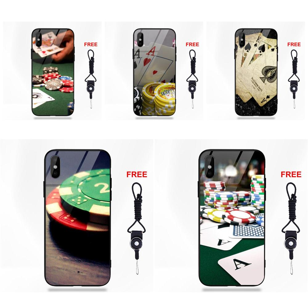 Luxe Poker Casino dessin coque souple en polyuréthane thermoplastique verre trempé pour Apple iPhone 5 5C 5S SE 6 6S 7 8 Plus X XS Max XR