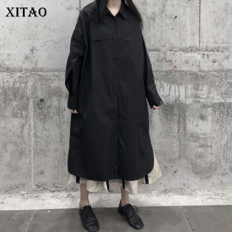 XITAO Pleated Black Split Trench Women Fashion New 2020 Spring Full Sleeve Plus Size Goddess Fan Elegant Loose Coat DMY3438