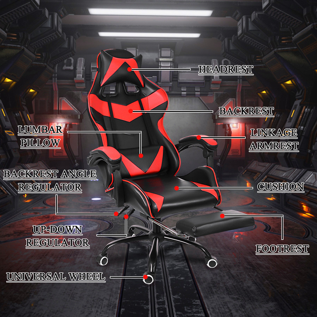 Office Gaming Chair WCG Gaming Chair Home Internet Cafe Gamer Chair Ergonomic Computer Office Chair Swivel Lifting LyingFootrest 5