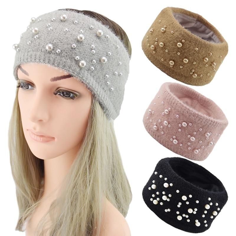 Kış inciler saç şerit geniş örme Hairband düz renk bandı bayan elastik türban saç bandı kulakları sıcak saç aksesuarları