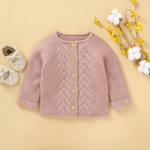 Newborn Baby Girl Clothes Sweater Long Sleeve Solid Pink Cardigan Princess Sweater Coat Autumn Winter Fashion Knitted Outcoat