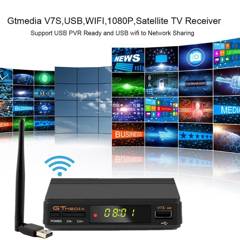 Image 4 - Hot DVB S2 gtmedia v7s hd With USB WIFI FTA TV Receiver V7 hd power +2 Year Europe lines Spain PT DE PO CCcam Powervu TV decoder-in Satellite TV Receiver from Consumer Electronics