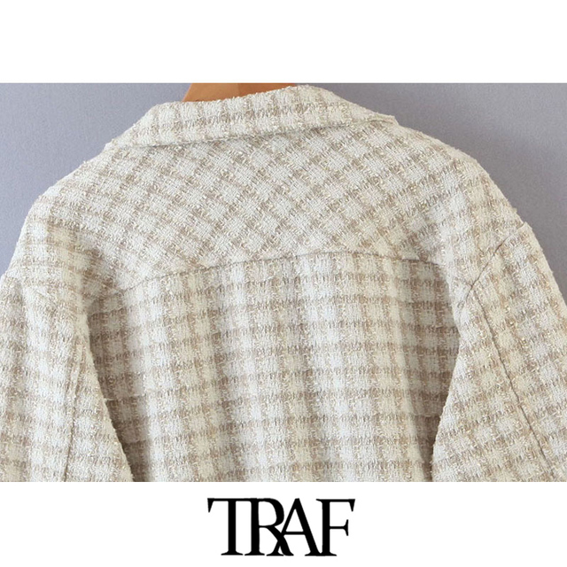 TRAF Women Fashion Tweed Plaid Loose Irregular Jacket Coat Vintage Long Sleeve Pockets Female Outerwear Chic Tops
