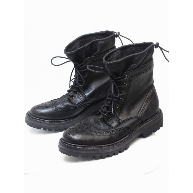 Luxury Vintage Brogues Shoes Men Fashion Brand Lace Up Motorcycle Ankle Boots Real Leather Snow Boots Black Platform Work Shoes