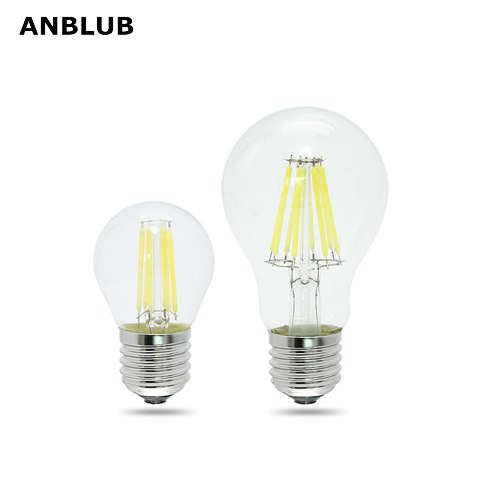 ANBLUB Dimmable E27 LED Filament Light Glass Housing Bulb Lamps 220V 4W 8W 12W 360 Degree Retro Dimming Candle Lighting Edison