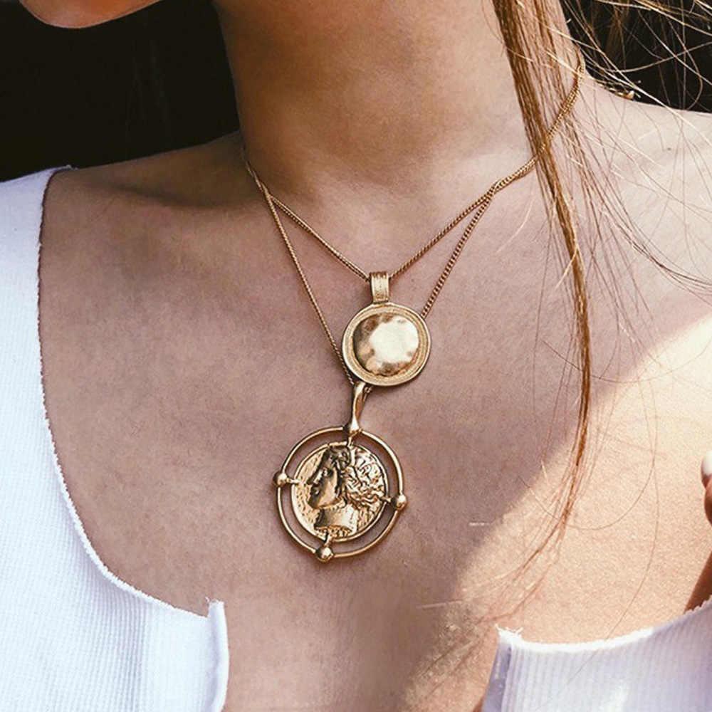 Kolor srebrny pozłacane biżuteria bohema portret moneta naszyjnik łańcuch kobiety warstwowy naszyjnik Charms naszyjnik