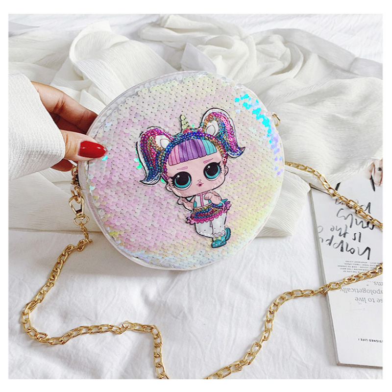 2019 LOL Surprise Dolls Women Backpack With Sequins Fashion Trend Women Wild Chain Toiletry Bag PU Round Small Wallet 2S27