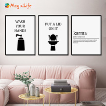 Funny Flush the Toilet Paper Hand Wall Art Canvas Painting posters and prints Towel Karma For Bathroom Unframed