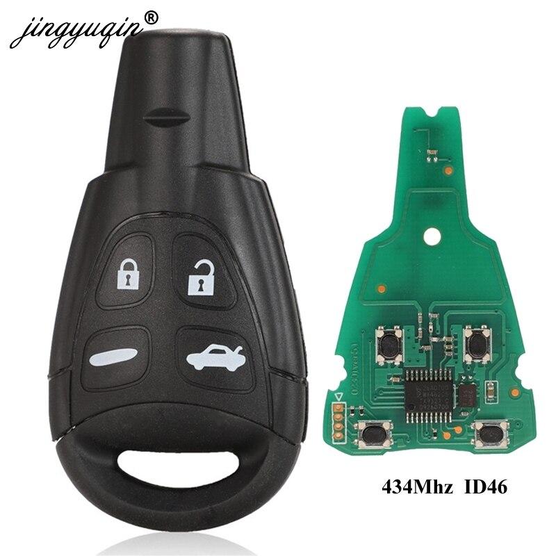 Jingyuqin 434 mhz id46 4 botões chave do carro fob para saab 93 95 9-3 9-5 wf substituição remoto chave ltqsaam433tx