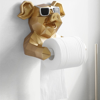Animal Head Statue Figurine Hanging Tissue Holder Toilet Paper Holder Roll Paper Tube Hanger Home Decoration Accessories WM1