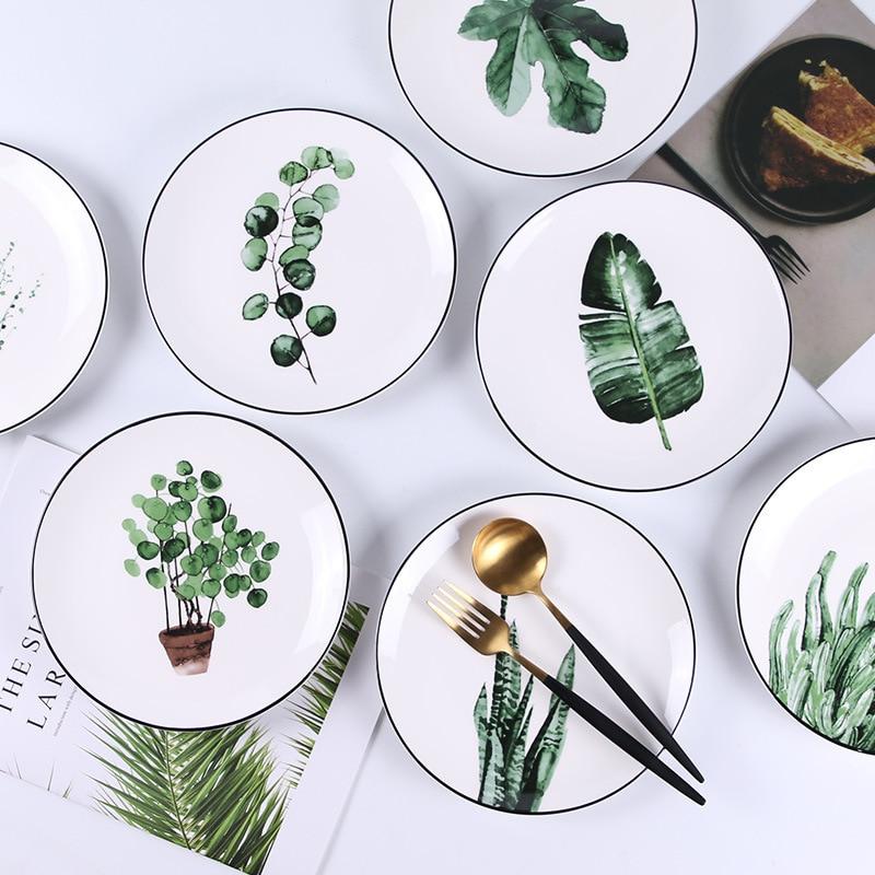 Green Plant Ceramic Plate Creative Cartoon Fruit Bowl Household Western Food Steak Plate Bowl Dish & Plate Set Ceramic Tableware