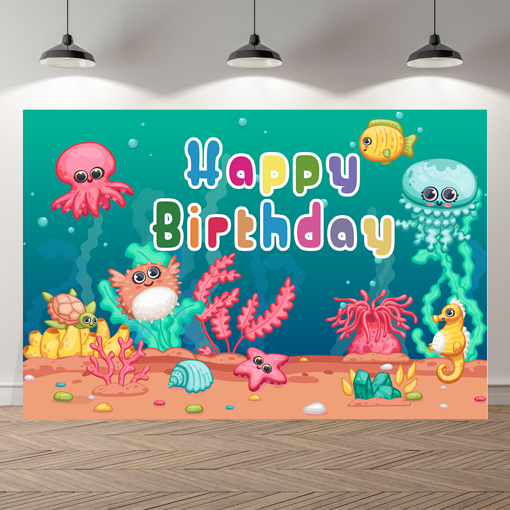 Фотофон Seekpro для студийной съемки с изображением подводного мира Акулы рыбы ребенка русалки дня рождения