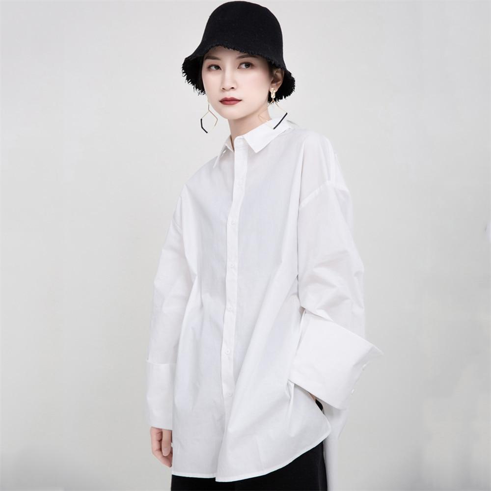 2020 New Spring Summer Loose White Women Blouse Original Design Fashion Ladies Shirt Big Size Sleeve Blouse Sharp Outline Camisa