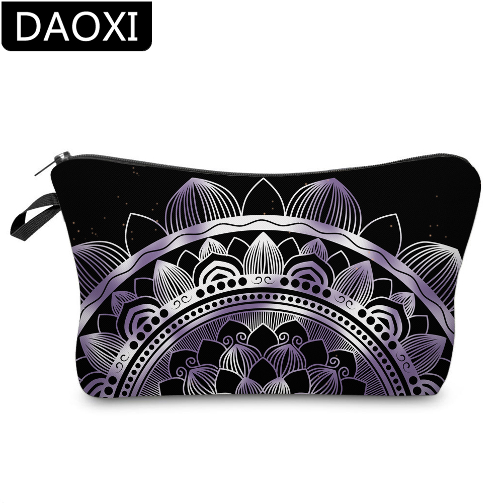 DAOXI Small Makeup Bag Fantastic Purple Mandala Cosmetic Bag Women Elegant Storage Bag For Travelling DX51526