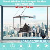 20kg Two Layers Pet Hammock Cat Basking Window Mounted Seat Home Suction Cup Hanging Bed Mat Lounge Cats Supplies 51x31cm