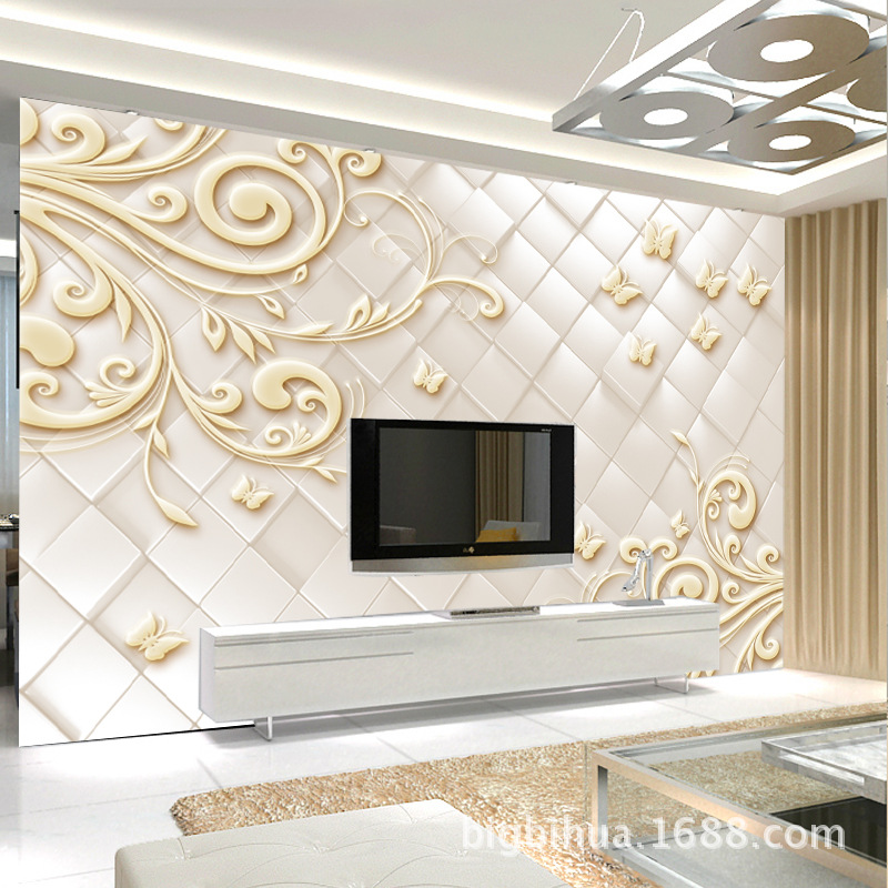3D European Style Stereo Relief Decorative Pattern Wallpaper Mural TV Background Bi Zhi Qiang Bedroom Living Room Home And Wall