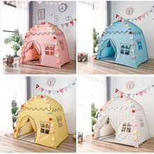 1.3M Folding Children's Tent Teepee Kids Play House Tipi Large Girls Princess Castle Baby Game House Wigwam Child Room Decor