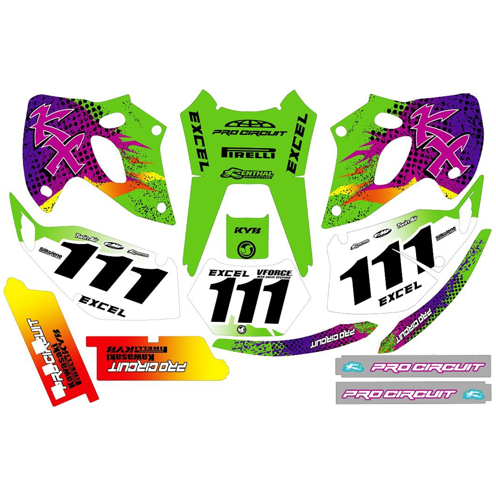 For Kawasaki KLX250 1993 1994 1995 1996 1997 Full Graphics Decals Stickers Custom Number Name 3M Bright Stickers Waterproof