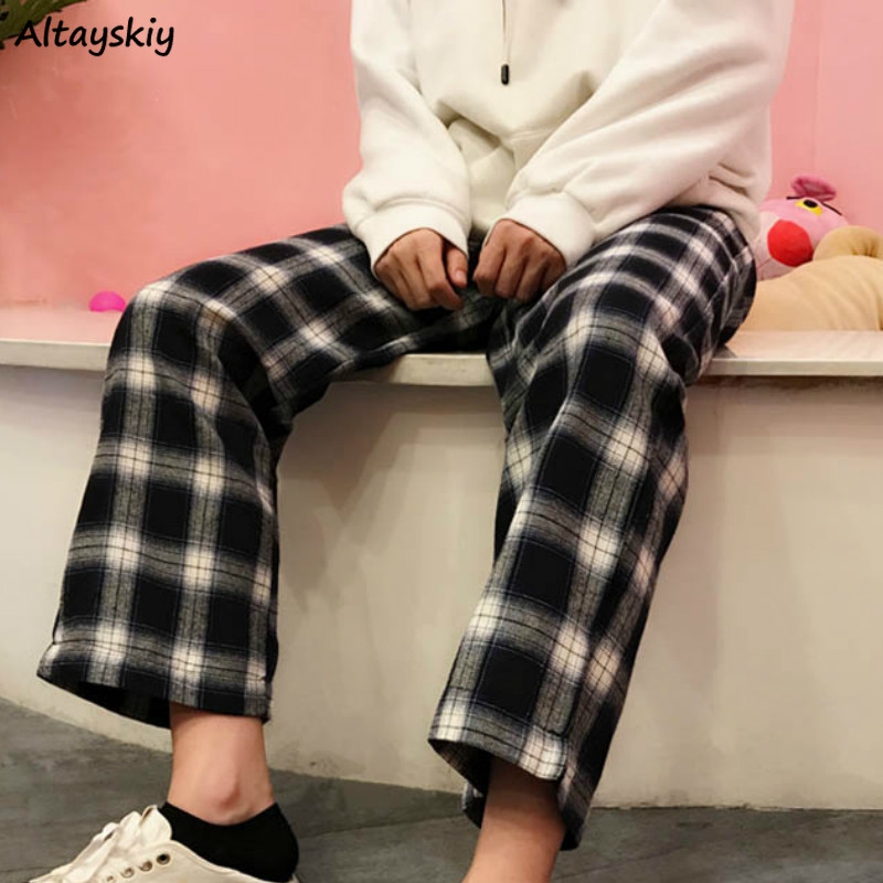 Pants Women Plaid Loose Straight Ankle-Length Elastic Waist Casual Korean Style BF Ulzzang Streetwear All-match Womens Daily New