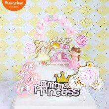 1Set Princess Happy Birthday Cake Topper Party Decorations Crown Castle Carriage Theme DIY Decoration Kids Favors