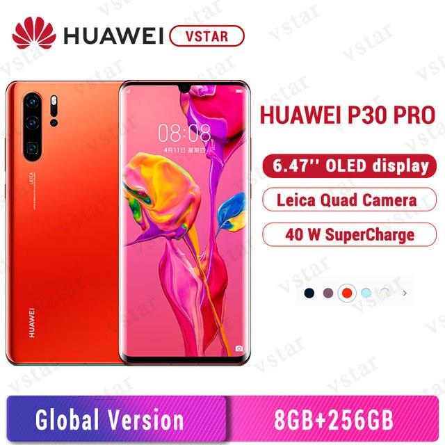 "Küresel sürüm orijinal Huawei P30 Pro 8GB 256GB cep telefonu 6.47 ""OLED ekran Kirin 980 octa çekirdek Android 9.0 NFC 4200mAh"