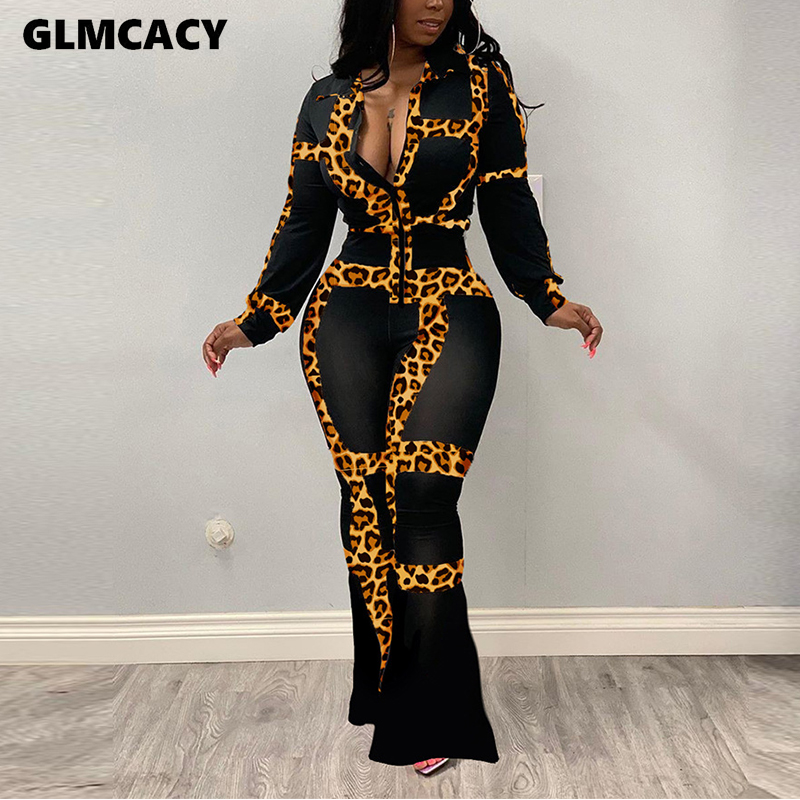 Women Two Piece Matching Sets Leopard Printed Long Sleeve Plunge V-neck Top & Bodycon Skirt Maxi Chic Sexy & Club Night Out Suit