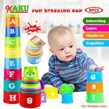 Figura e letras crianças brinquedos educativos 9 pçs diversão do bebê empilhamento copos brinquedo diversão arco-íris copos empilhamento torre mini urso brinquedo presentes