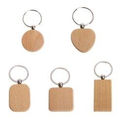 100 llavero de madera en blanco de madera Diy llavero Etiqueta de llave de madera Anti-Pérdida accesorios de madera regalo (mixto)