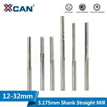 1XCAN 10pcs 3.175 שוק 2 חליל ישר חריץ קרביד כרסום קאטר 12 32mm לעץ MDF פלסטיק כרסום חריטה