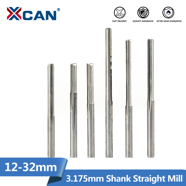 XCAN 10 sztuk 3.175 Shank 2 flet płaskie frez z węglika 12 32mm do drewna MDF plastikowe frezowanie grawerowanie