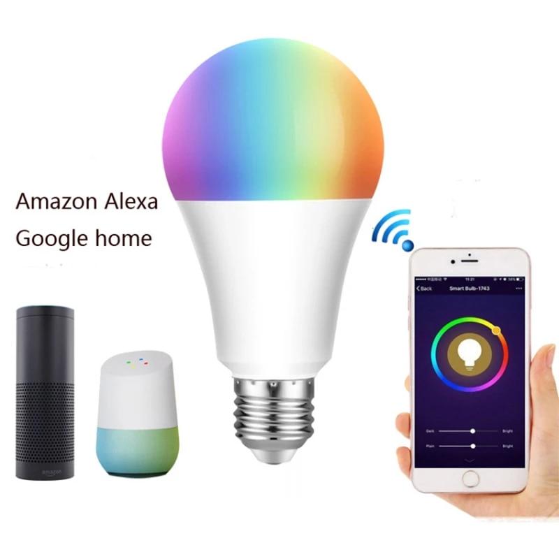 LED Wifi Smart Light Bulb Dimmable RGB+W Lamp E27 E26 B22 For Alexa Google